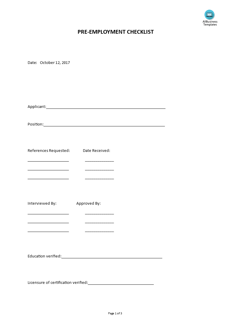 Pre employment checklist form for Pre employment application template