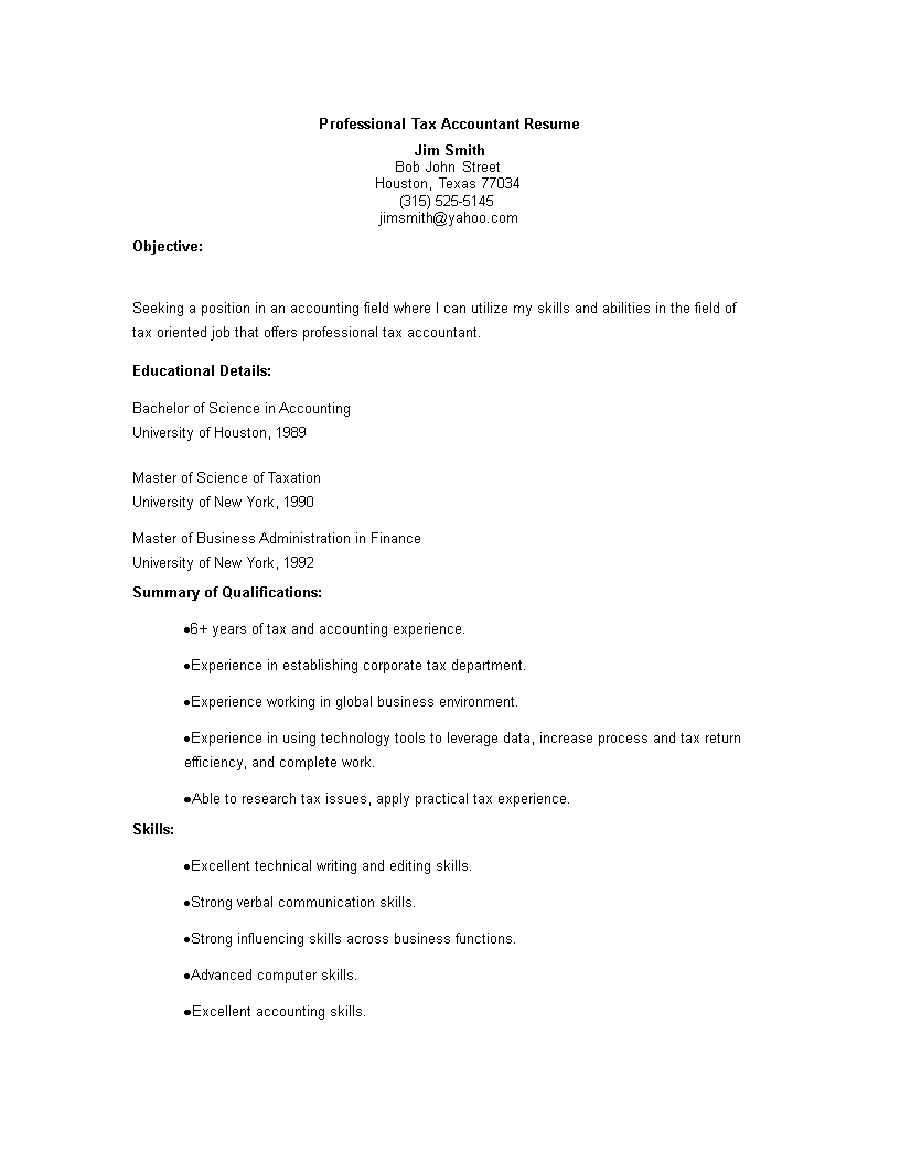free professional tax accountant resume templates at