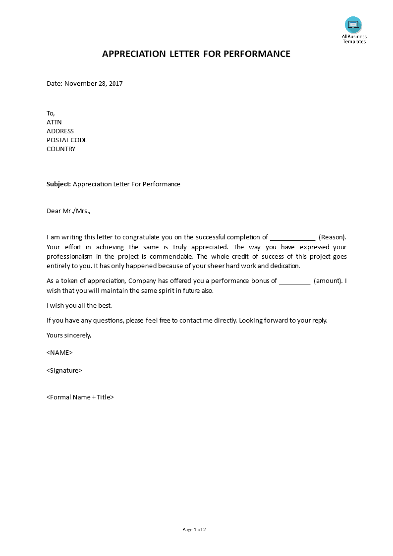 Free Appreciation Letter For Performance Templates At