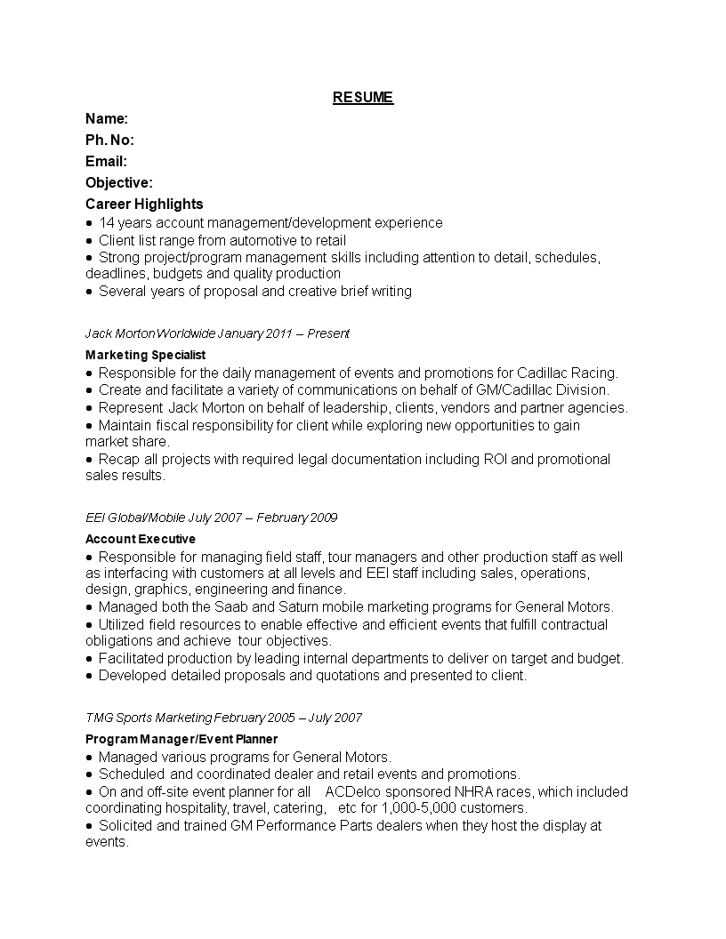 free retail marketing specialist resume templates at