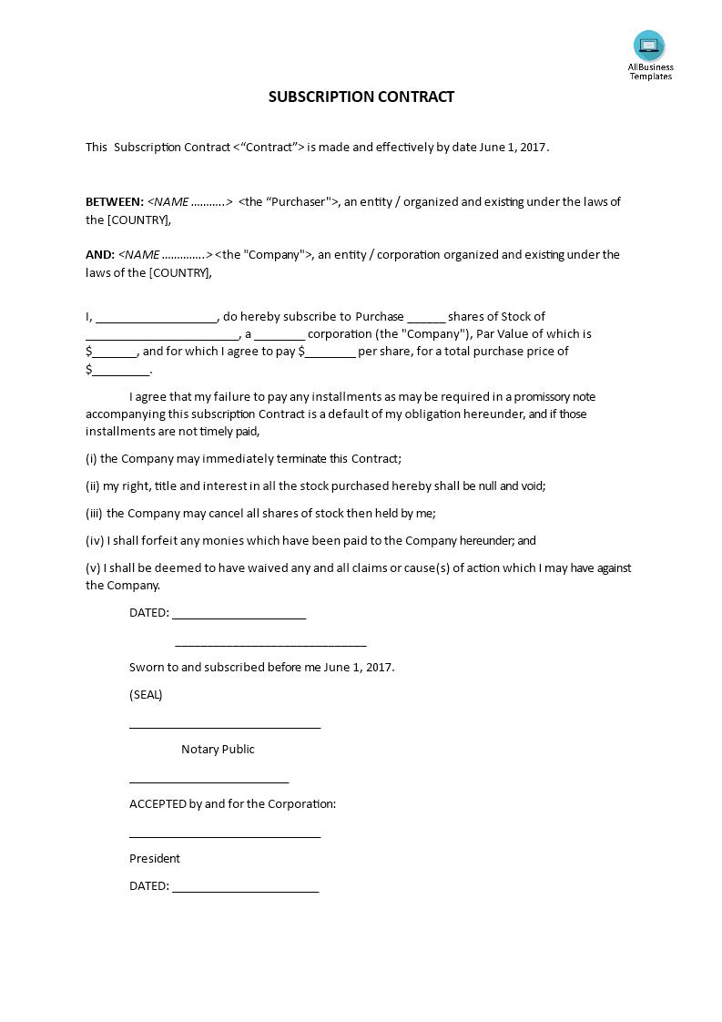 Subscription Agreement Template | Subscription Contract Template Templates At Allbusinesstemplates Com
