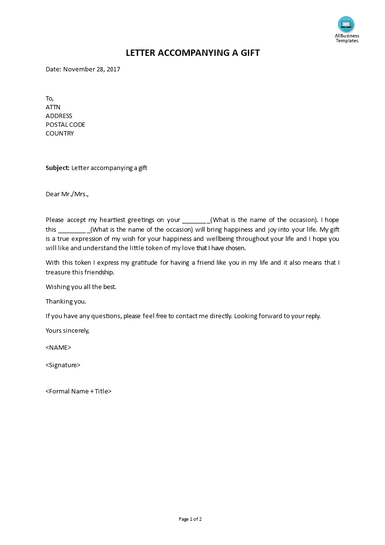 Free Letter Accompanying A Gift Templates At Allbusinesstemplates