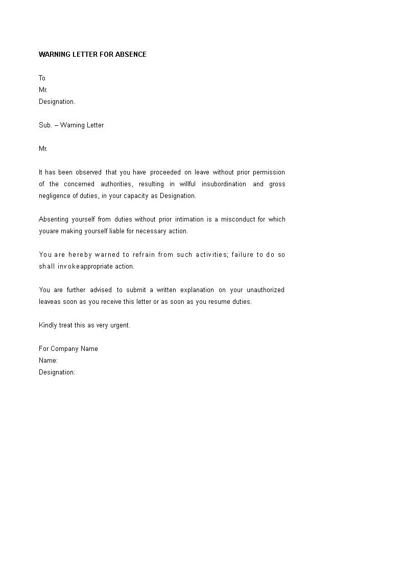 Absence Warning Letter Format Templates At Allbusinesstemplates Com