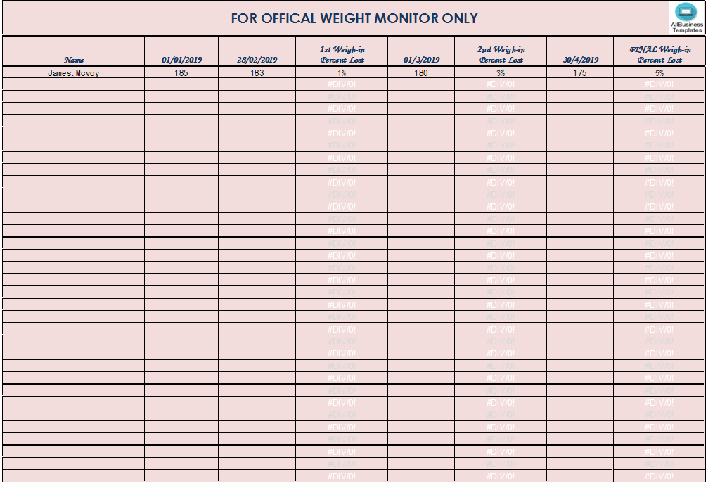 free weight loss monitor templates at