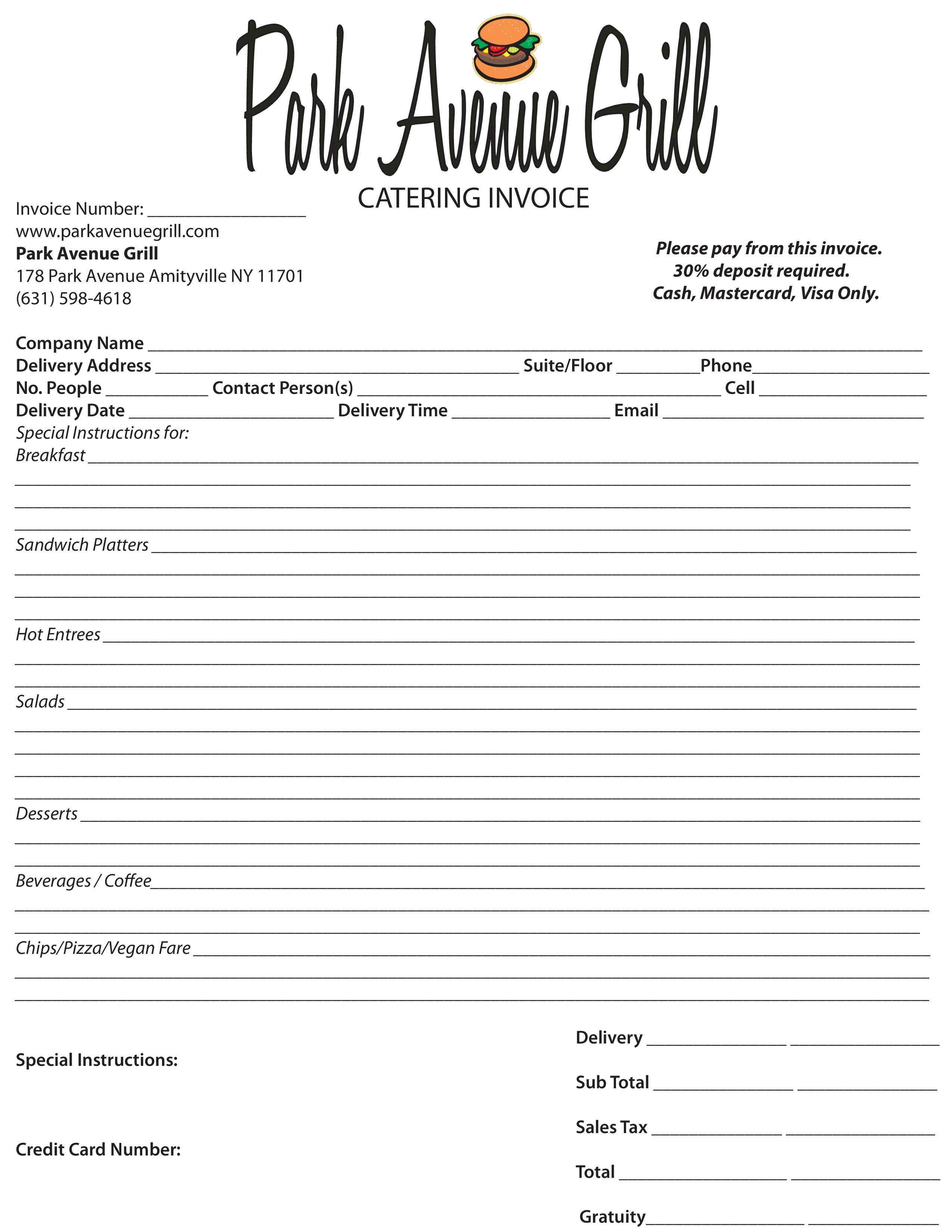 catering receipt main image download template