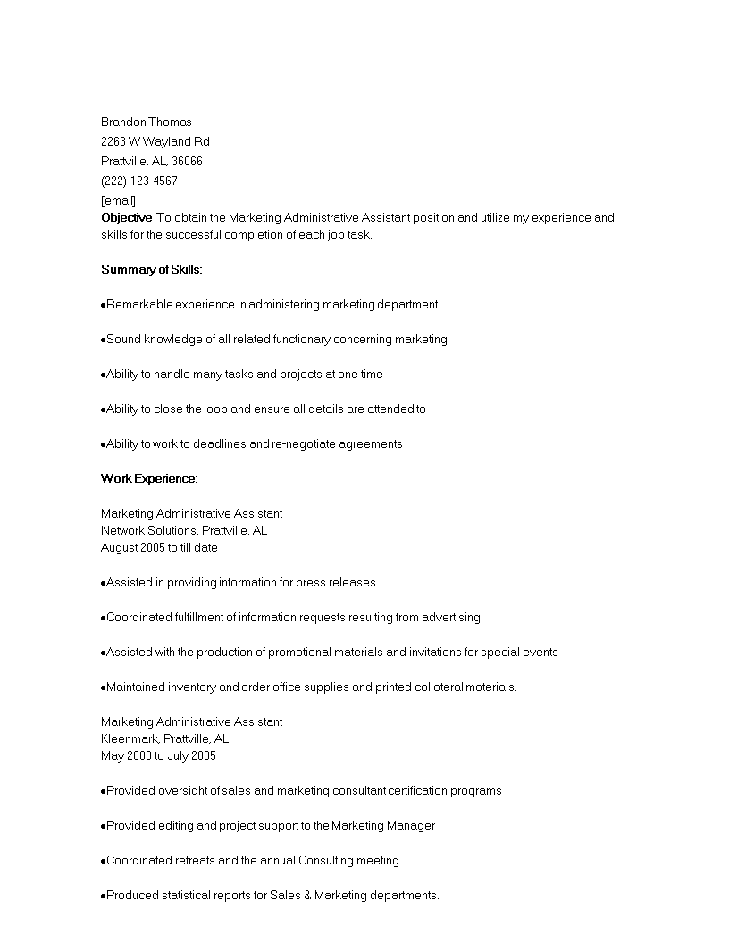 Administrative Marketing Assistant Resume Templates At Allbusinesstemplates Com