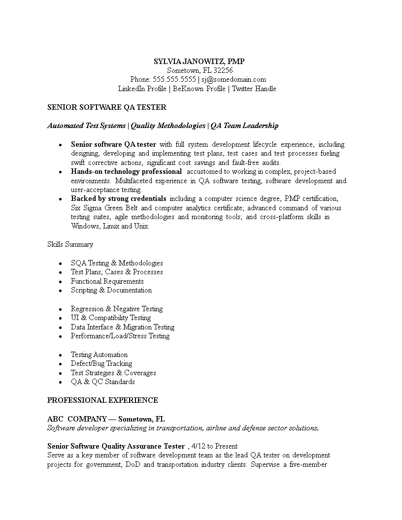 Software Tester Resume Sample For Experience Templates At