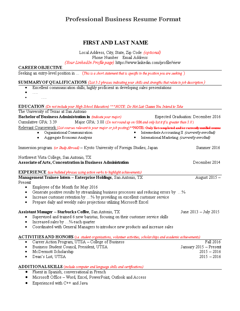 Professional Business Resume Format main image