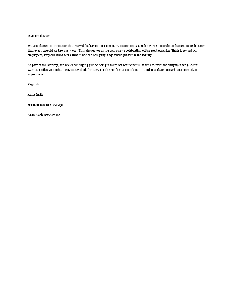 Company Outing Announcement Letter Main Image  Organizational Announcement Samples