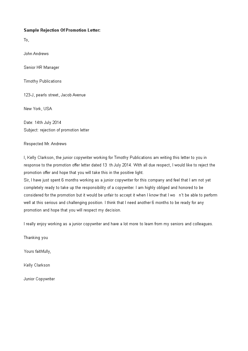 Free job promotion refusal letter templates at job promotion refusal letter main image altavistaventures Image collections