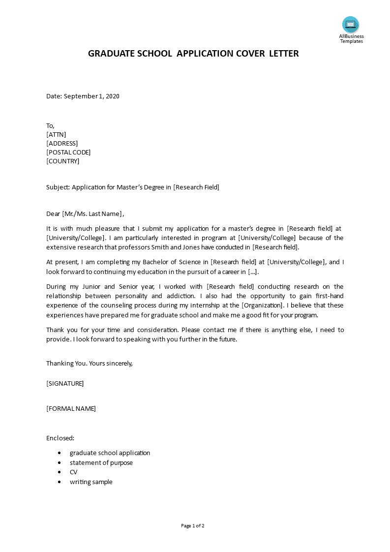 Graduate School Application Cover Letter Templates At Allbusinesstemplates Com