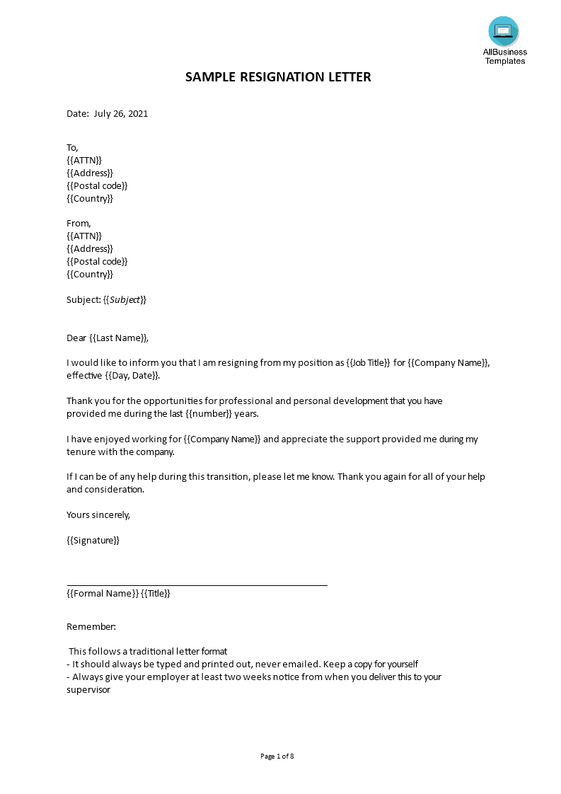 Free Short Resignation Letter | Templates at allbusinesstemplates.com