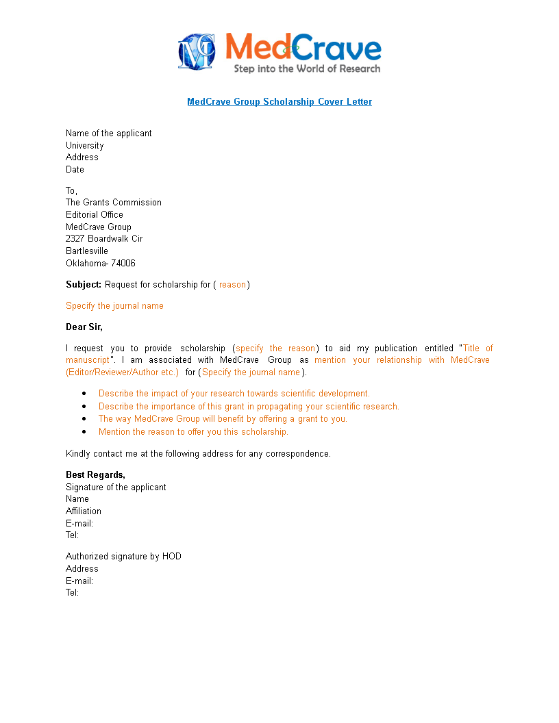 Sample Scholarship Cover Letter | Templates at ...