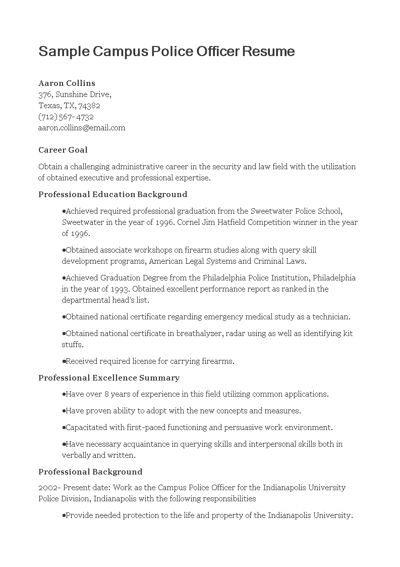campus police officer resume main image