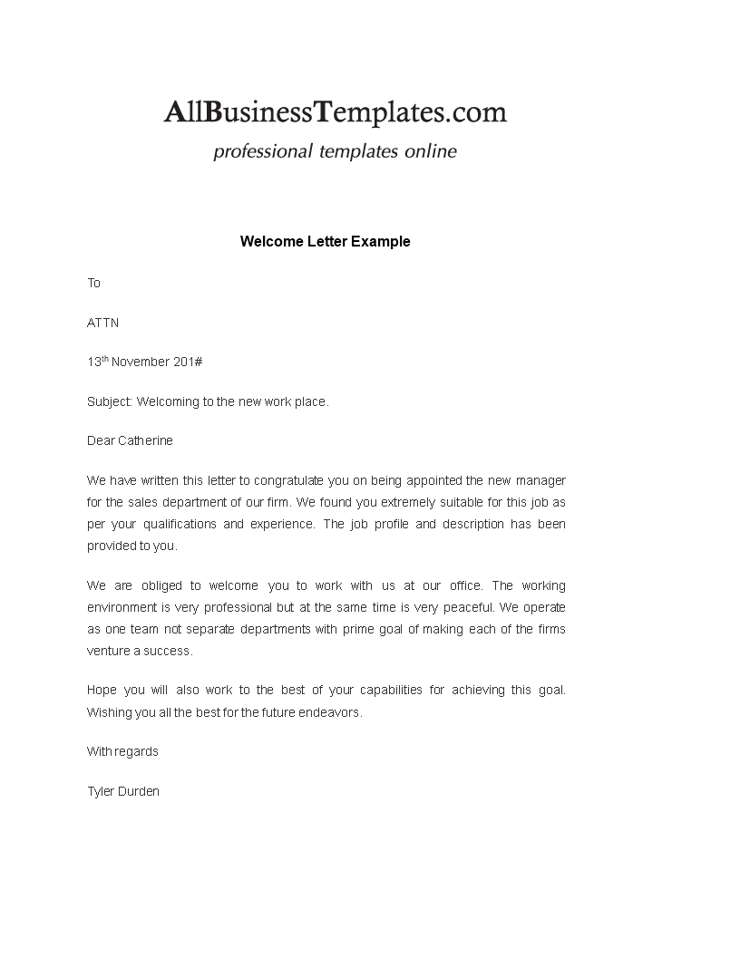 Welcome Letter To New Employee From Manager from www.allbusinesstemplates.com