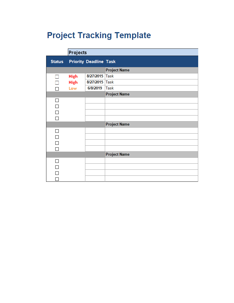 Multiple project tracking status report template main image