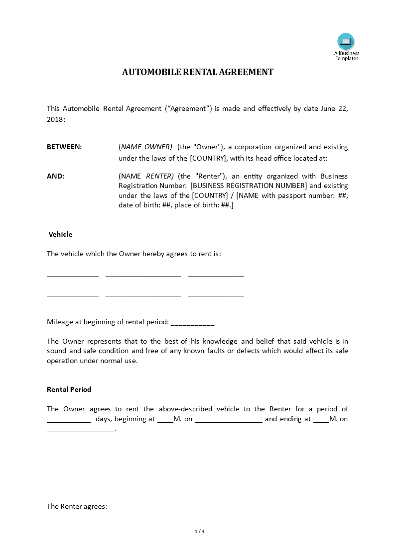 Automobile Rental Agreement Templates At Allbusinesstemplates