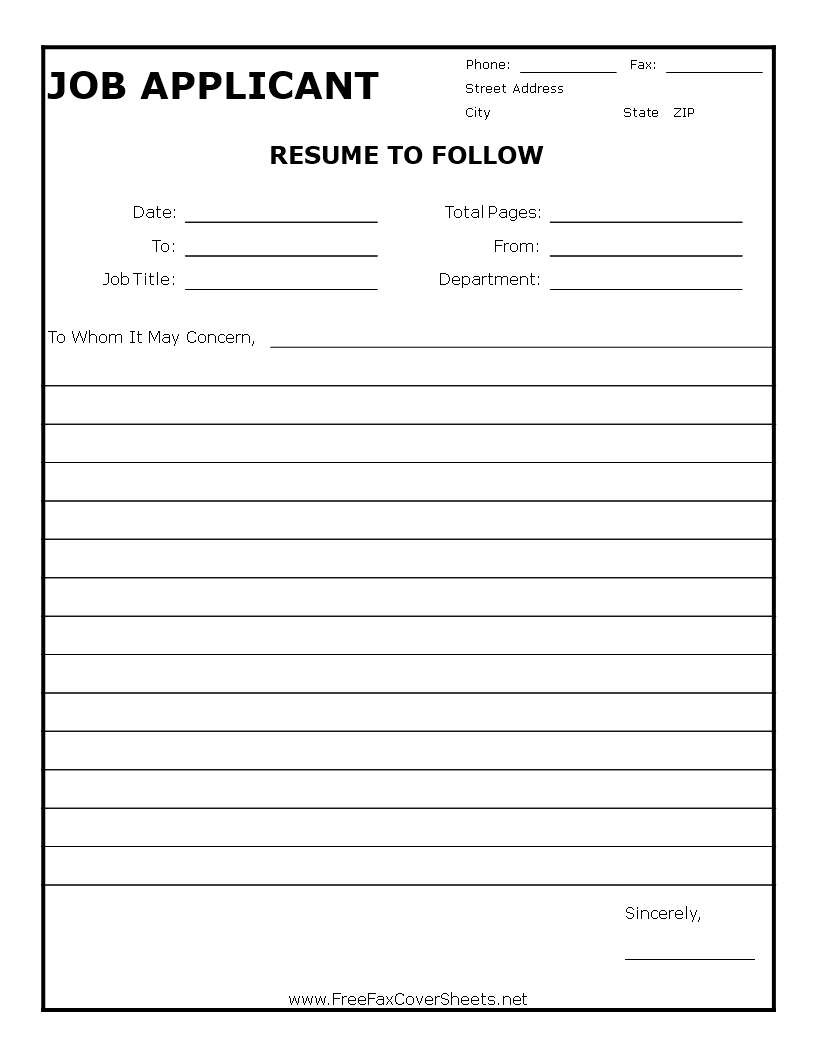 Resume Generic Fax Cover Sheet