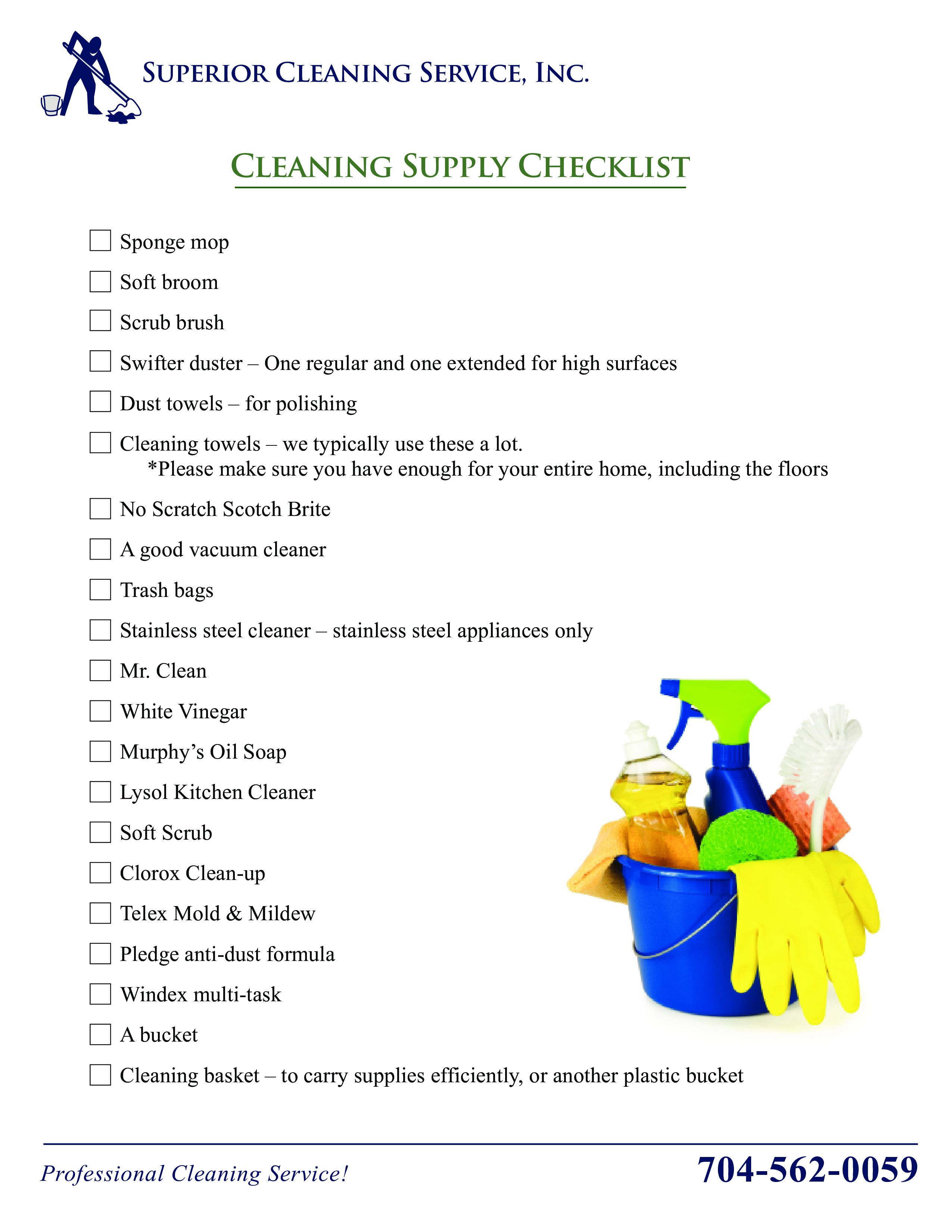 Cleaning Supply Checklist Main Image