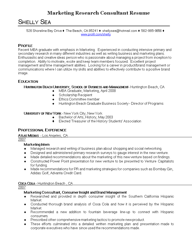 Free Marketing Research Consultant Resume  Templates At
