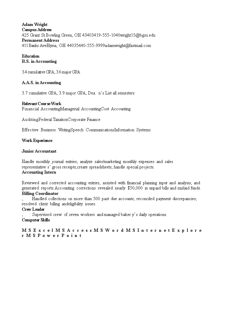 free graduate accounting resume templates at