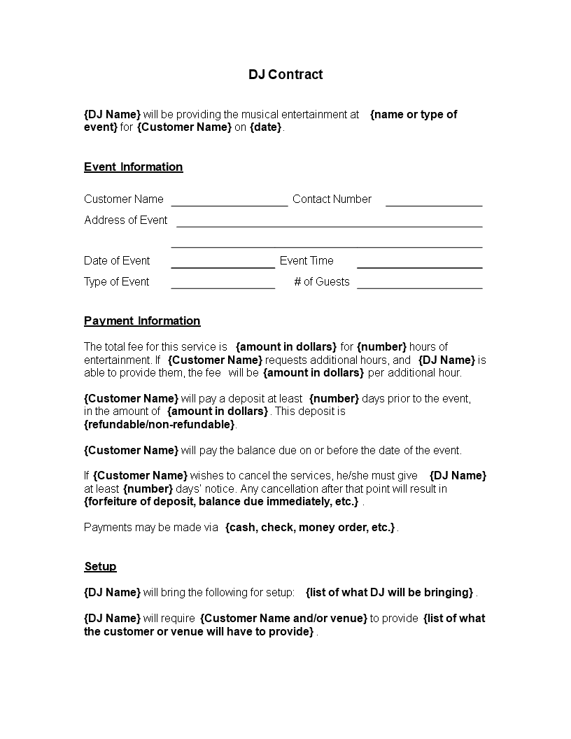 Free Printable Dj Contract Template Templates At
