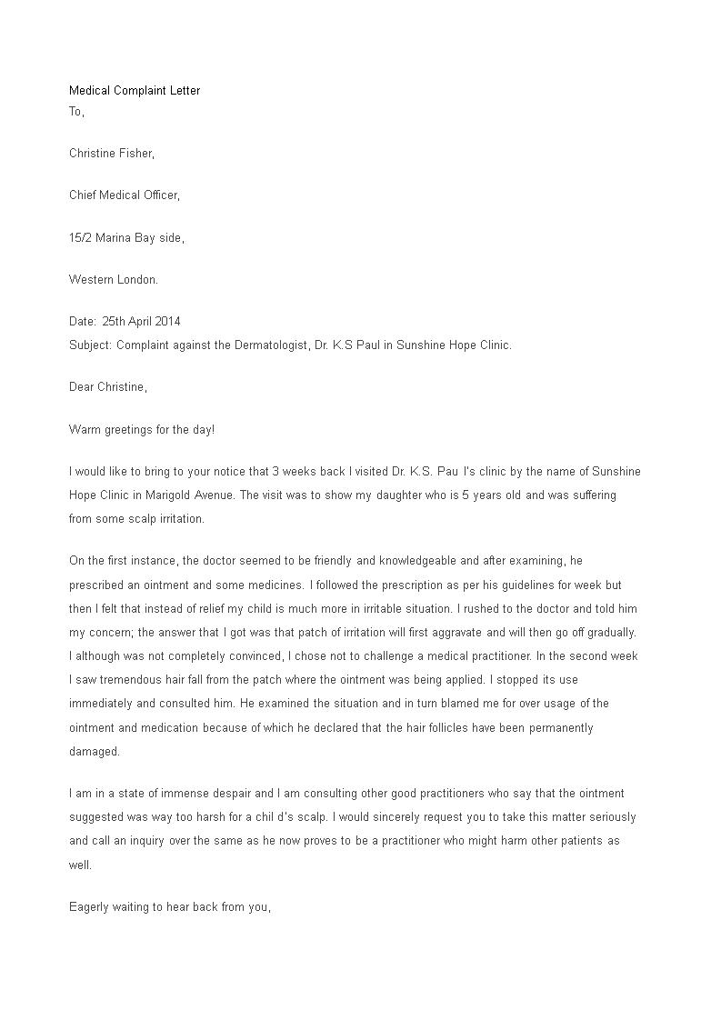 Formal Medical Complaint Letter Main Image Template