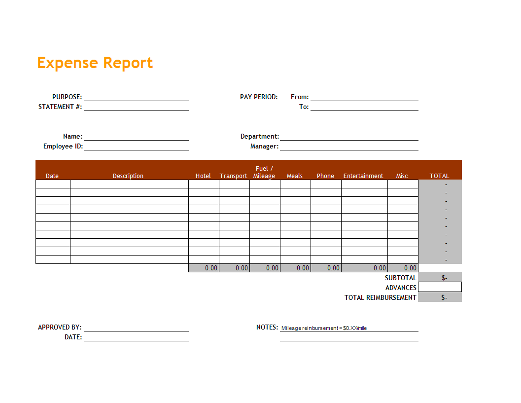 expense report sheet in excel main image