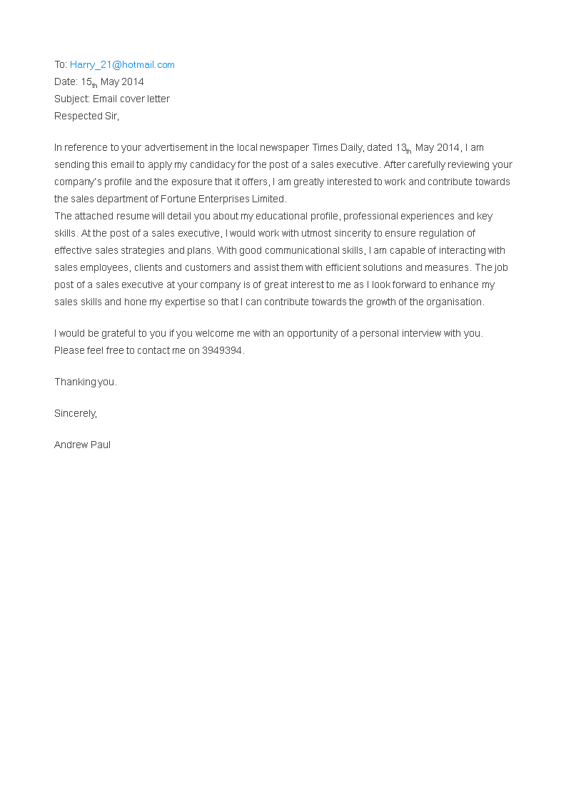 Kostenloses Email Job Application Cover Letter