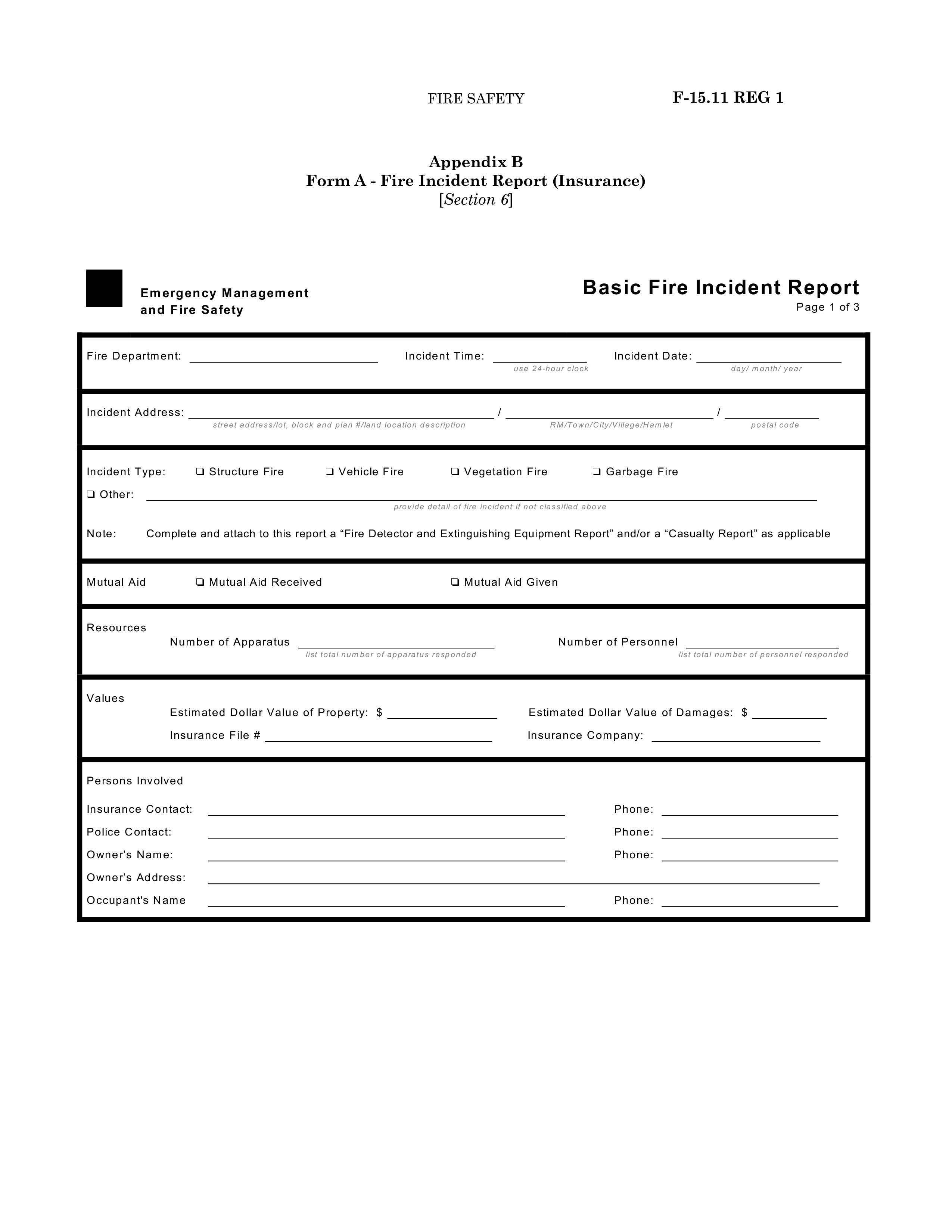 Construction Fire Incident Report Main Image Download Template