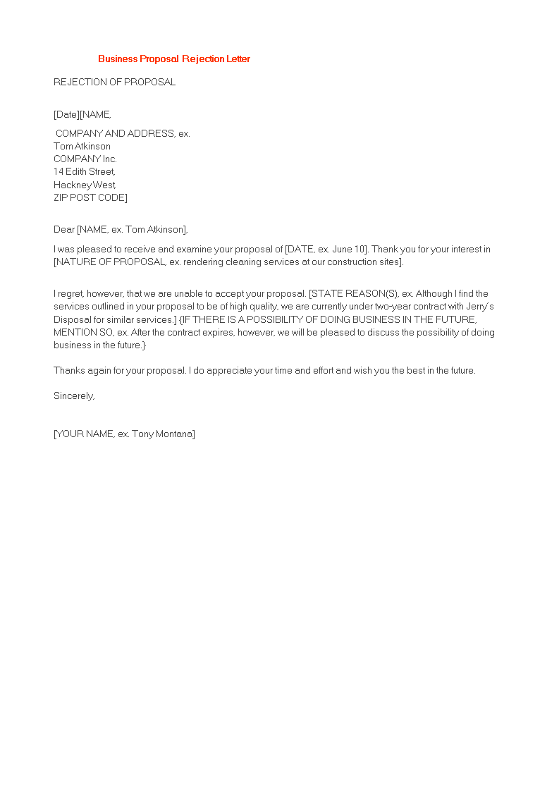 Free polite business proposal rejection letter templates at polite business proposal rejection letter main image expocarfo Gallery