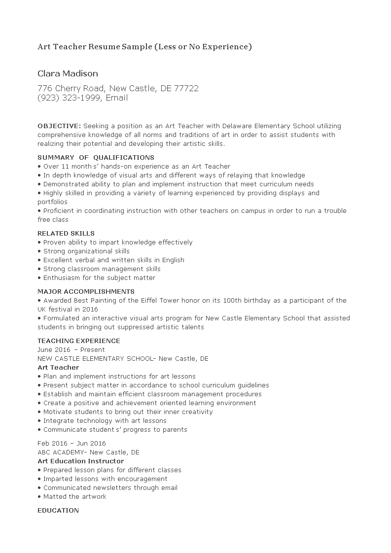 Free Art Teacher Resume With No Experience | Templates at ...