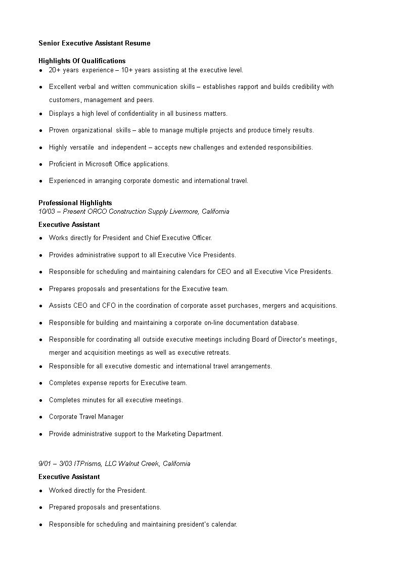 免费Senior Executive Assistant Resume | 样本文件在 ...