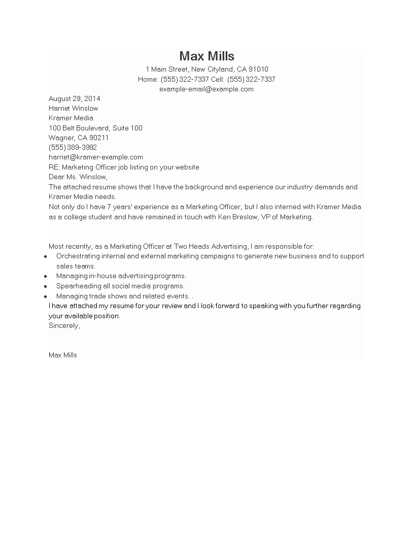 Free Sample Marketing Officer Job Application Letter Templates At