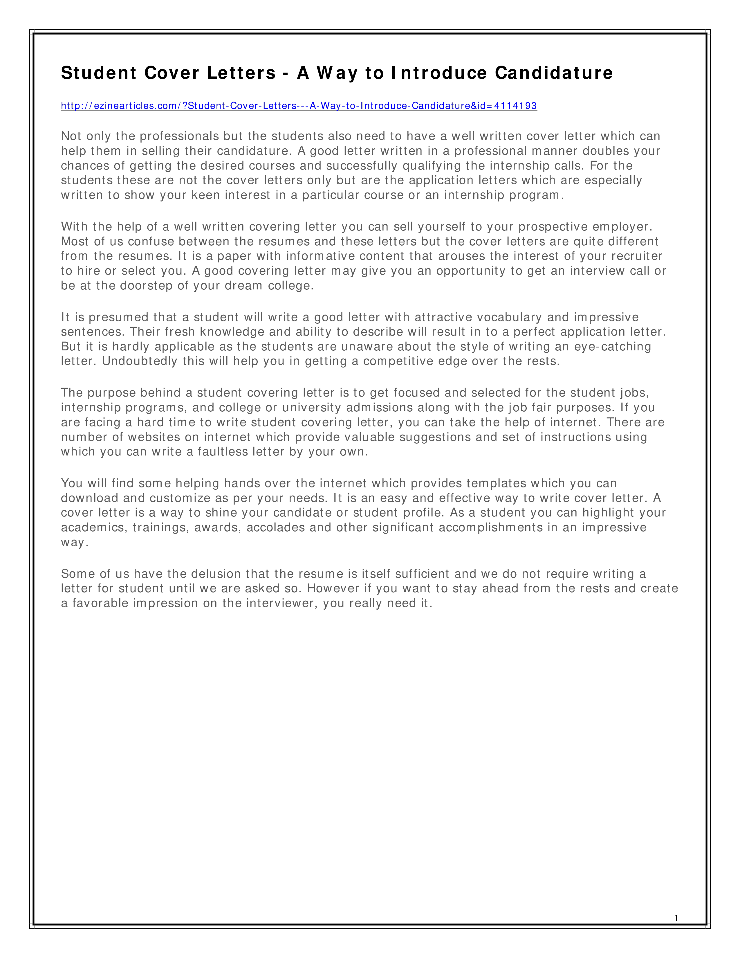 Teenage Resume Cover Letter | Templates at ...