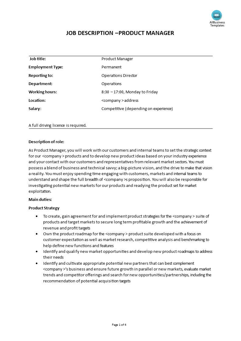 product manager job description templates at. Black Bedroom Furniture Sets. Home Design Ideas