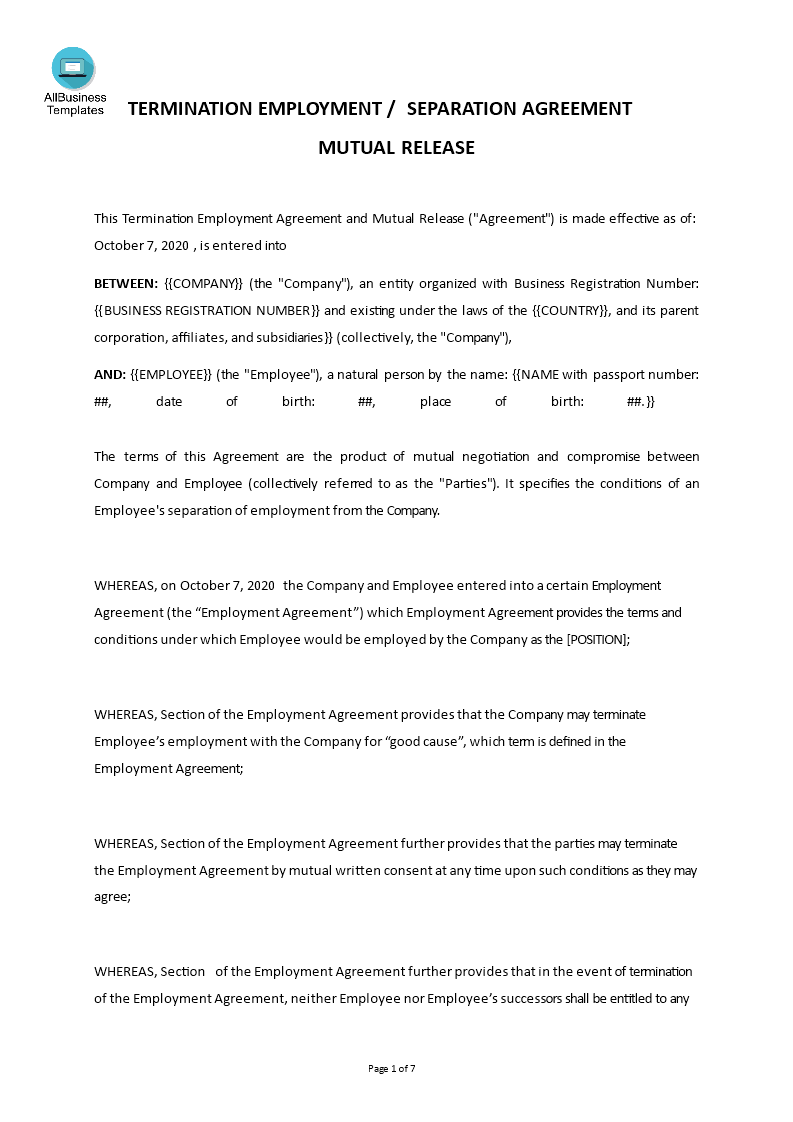 Business Separation Agreement Template from www.allbusinesstemplates.com