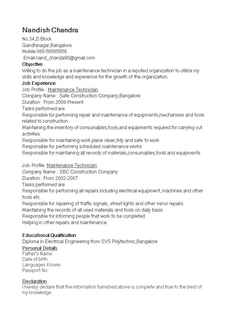 Free Maintenance Technician Resume   Templates at ...