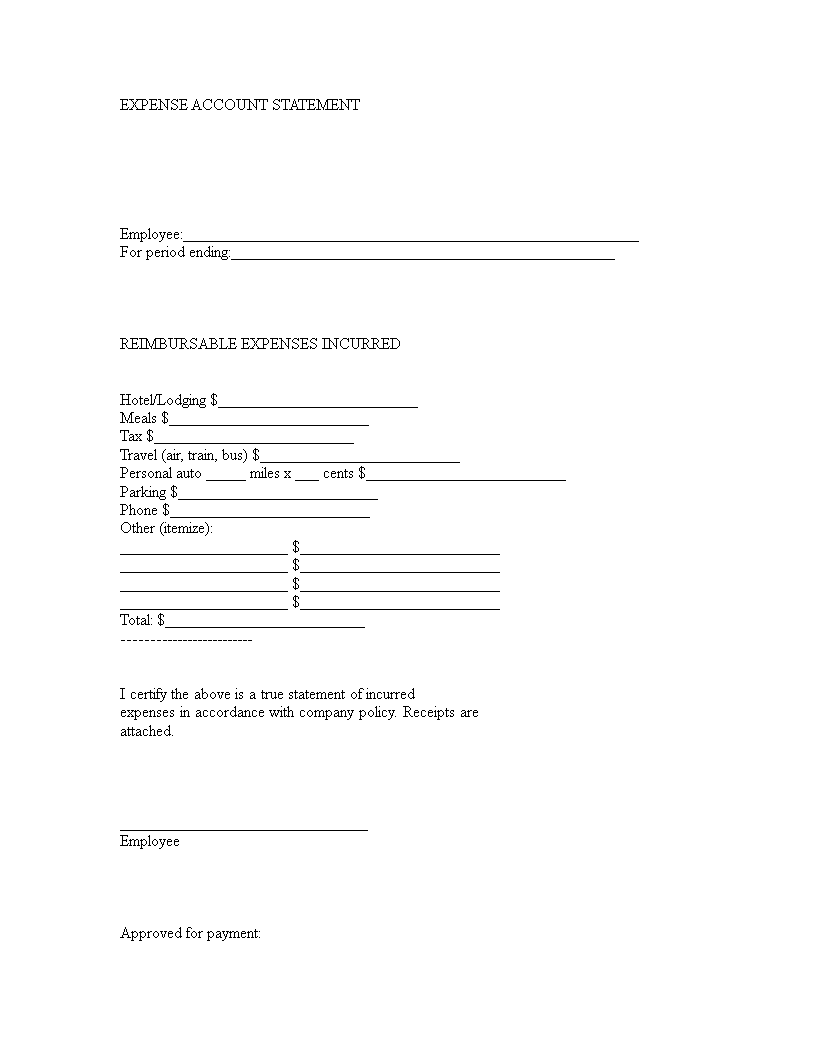 Expense Account Statement Form main image