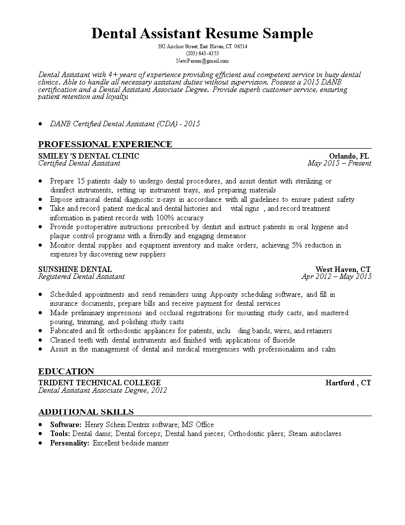 Dental Assistant Resume Sample Templates At