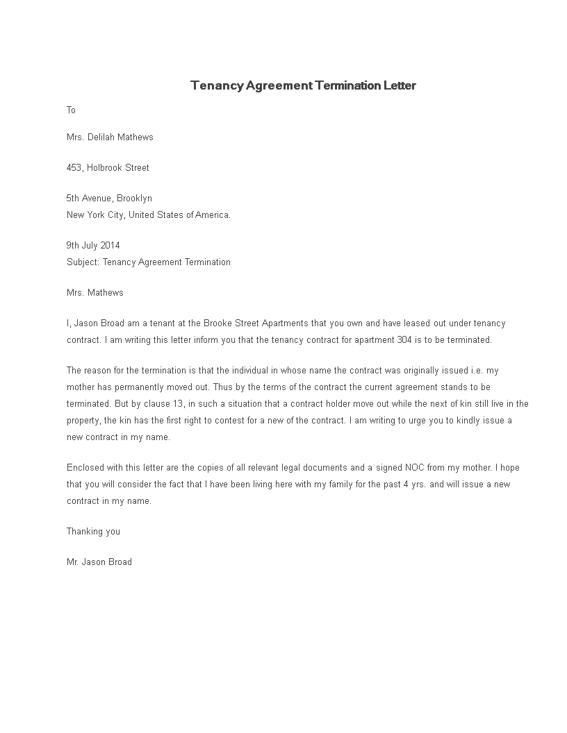 Tenancy Agreement Termination Letter sample main image