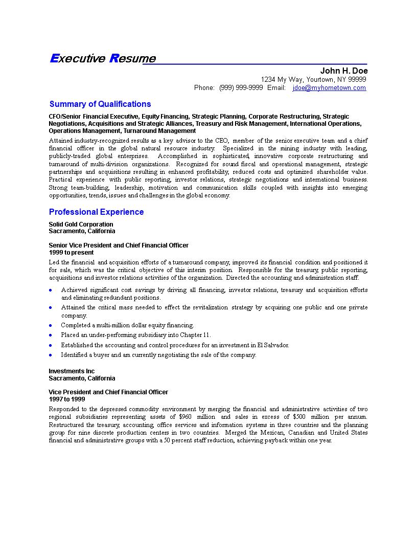 免费Senior Finance Executive Resume | 样本文件在allbusinesstemplates.com