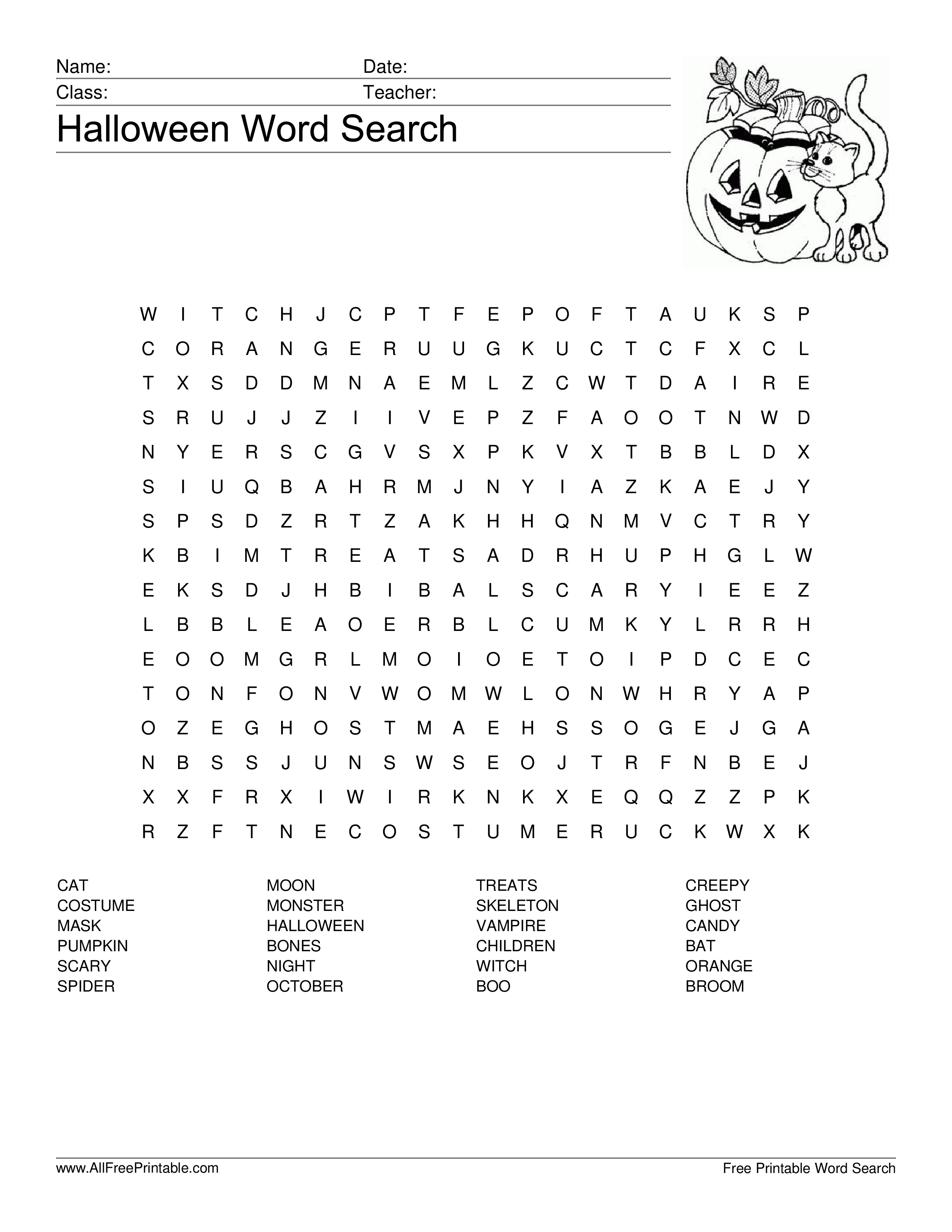 Halloween Word Search main image Download template