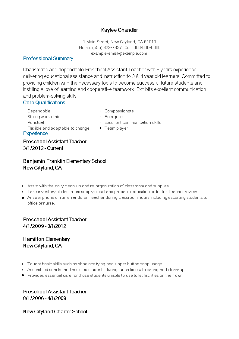 Free Preschool Assistant Teacher Resume Templates At