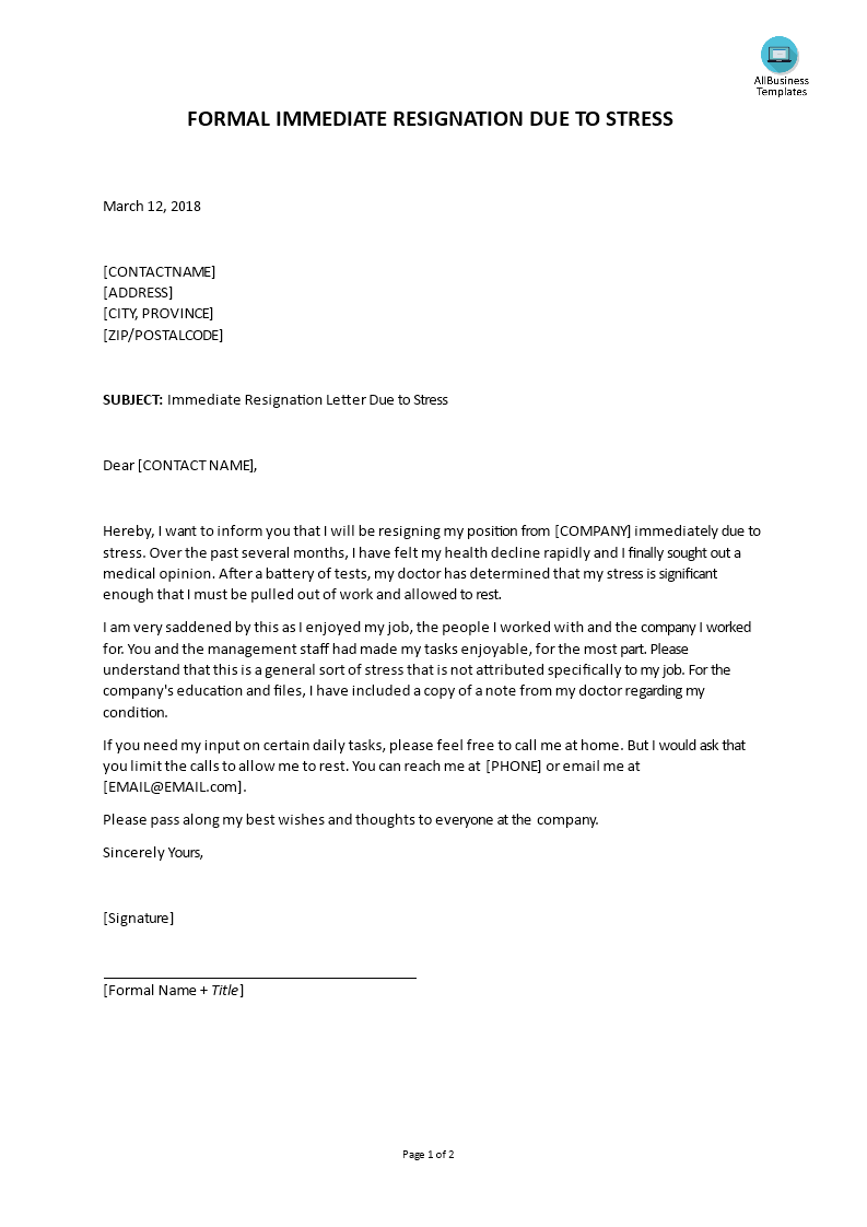 immediate resignation letter due to stress by employee main image