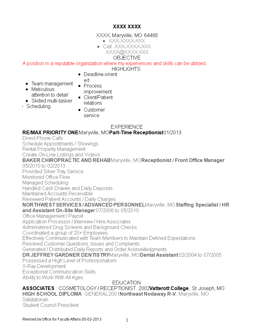 part time receptionist resume