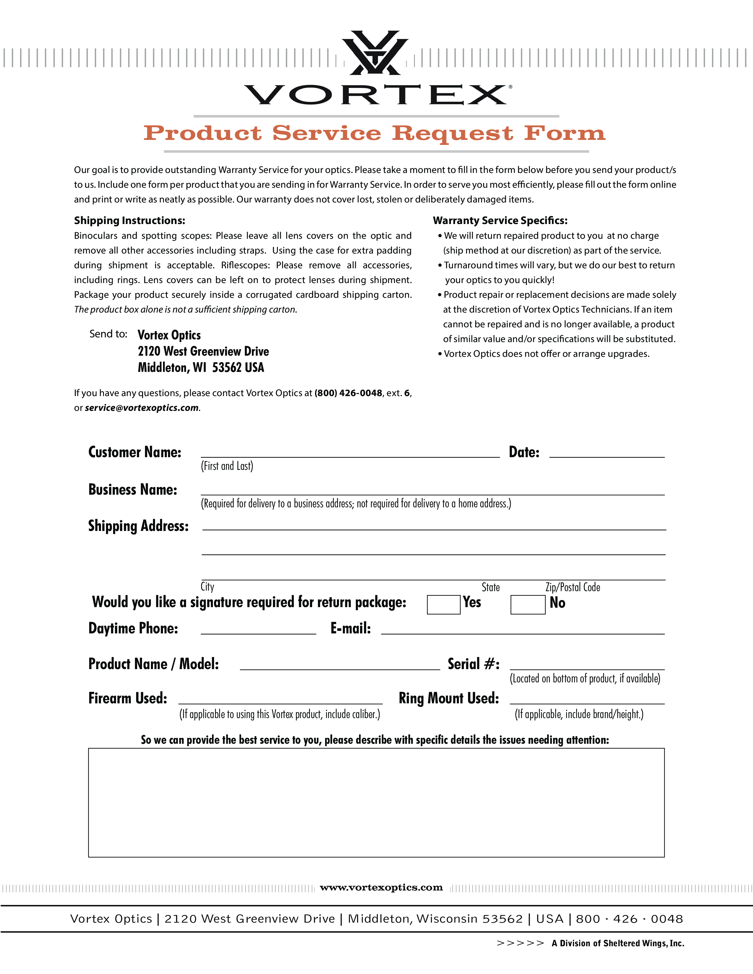 sample product repair order form 1