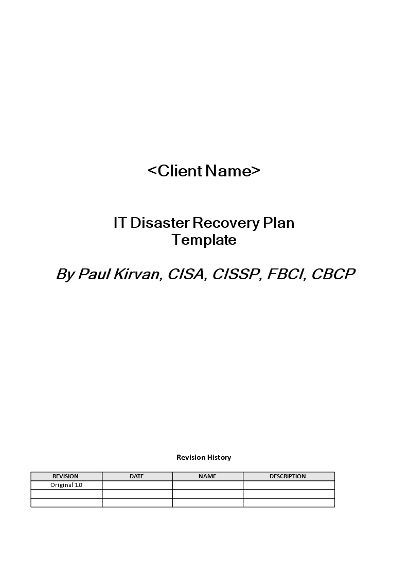 Information Technology Disaster Recovery Plan Main Image Template