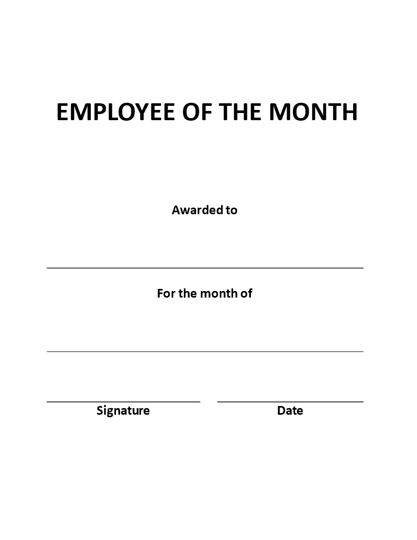 Free Employee Of The Month Certificate Portrait Templates At