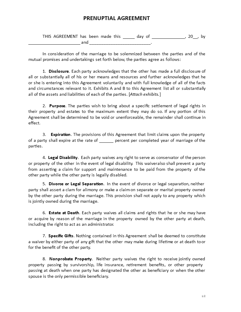 Free Prenuptial Agreement Template Templates At